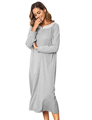 Schlafkleid Damen Nachthemd Langarm Einteiliger Schlafanzug Nachtkleid Retro-Stil Kleid Warme Sleepshirt Pyjama aus Baumwolle für Frauen Schwangere Oma Grau L