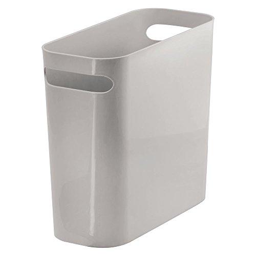 mDesign Mülleimer mit Griffen – ideal als Abfallsammler oder Papierkorb für Küche, Bad oder Büro – eckiger Eimer ohne Deckel im schlichten Design – aus robustem Kunststoff – 5,7 Liter Kapazität – grau