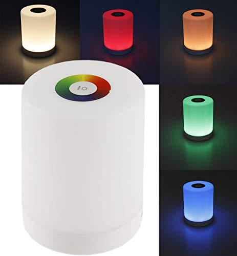 ChiliTec LED Tischleuchte Touch RGB Warmweiß tragbare Nachttischlampe mit Akku Farbig RGB einstellbar + Farbwechsel Funktion I Dimmbar Wiederaufladbar per USB I 88x113mm I Öse zum Hängen Weiß