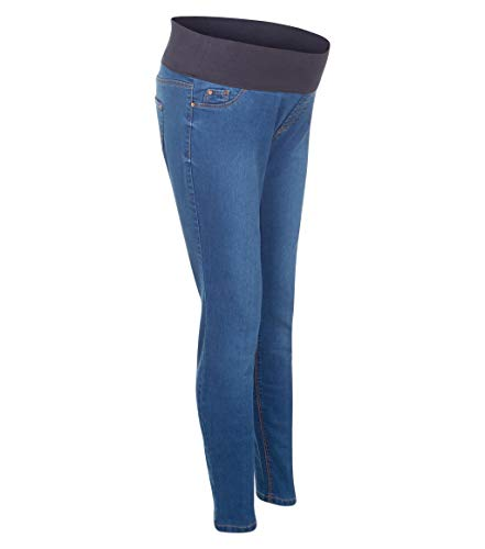 Ladies Ex New Look Over Bump Waistband Maternity Jeans Womens Skinny Fit Stretch Denim High Waist Rise Pull On Jeggings (Light Blue, 14)
