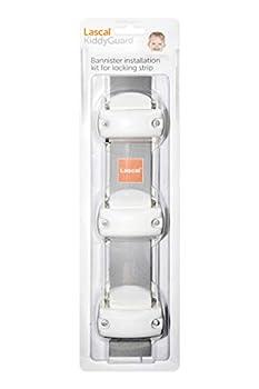 Lascal KiddyGuard Avant/Accent/Assure Support barrière de sécurité, Support escaliers avec rampes arrondies ou angulaires jusqu'à ø50 mm, Set de 3 fixations, blanc