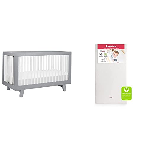 Babyletto Hudson 3-in-1 Convertible Crib with Toddler Bed Conversion Kit in Grey / White with Pure Core Crib Mattress Hybrid Quilted Waterproof Cover, Greenguard Gold Certified