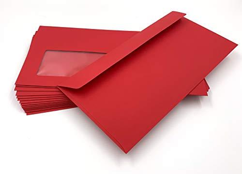 100 Fensterumschläge, Cadmium, Rot, Dunkelrot, DIN lang = 220 x 110 mm, Haftklebestreifen, Kuverts mit Fenster