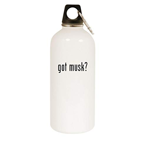 got musk? - 20oz Stainless Steel White Water Bottle with Carabiner, White