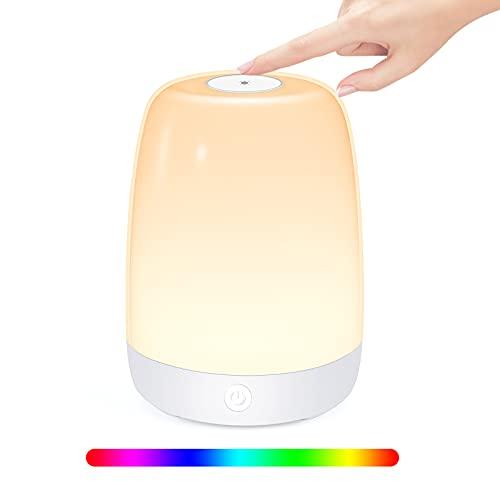 otumixx LED Nachttischlampe, Touch Dimmbar Atmosphäre Tischlampe 3 Helligkeitsstufen & 6 RGB Farbwechsel USB Aufladbar Nachtlicht für Schlafzimmer Büro Lesen Camping