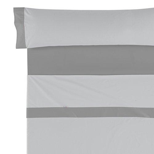 Es-Tela Lisos Aplique 50/50 Juego de sábanas, 3 Piezas, Color Perla-Plomo, Algodón-Poliéster, Cama 135/140 (Queen)
