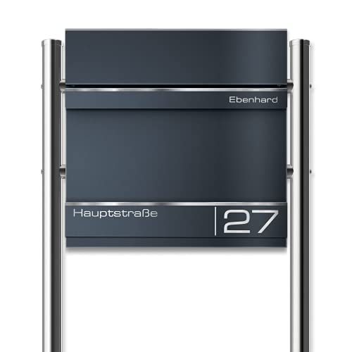 Metzler Hermann - Buzón de pie con listones de acero inoxidable de color antracita RAL7016 (37 x 37 x 10,5 cm, altura 120 cm aprox.)