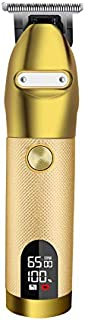 Rechargeable Hair Trimmer Portable Shaver Pro Gold Skeleton Stainless Steel All Metal Housing...