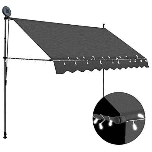 vidaXL Markise Einziehbar Handbetrieben mit LED Wasserabweisend Klemmmarkise Balkonmarkise Sonnenschutz Terrasse Balkon Garten 300cm Anthrazit