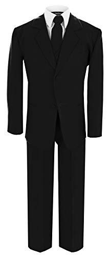 GG214TieSet Boy's Formal Suit Dresswear Set Black Medium