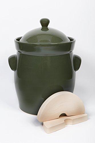 Bunzlauer Keramik Original Gärtopf/Einlegetopf/Sauerkrauttopf 15 Liter Olive-grün - inkl. Beschwerungsstein & Deckel