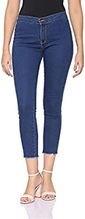 Andiamo Fashion High-Rise Frayed Trim Cropped Skinny Jeans for Women - Dark Blue, 40