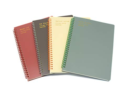 Yansanido 4 Pack 80 Sheets Spiral Notebook Journal 10.1 x 7 Inch (B5) College Ruled Lined Notebook White Paper for Students Office School Supplies (B5-4pcs Wine Red,Brown,Green,ivory)