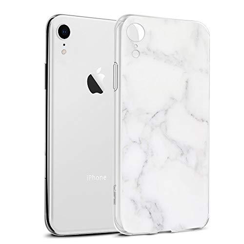 Pnakqil Funda iPhone XR, Silicona 3D Transparente con Dibujos Diseño Slim TPU Antigolpes Ultrafina de Protector Piel Case Cover Cárcasa Fundas para Movil Apple iPhoneXR, Marmol Blanca