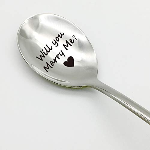 Buy Bargain family Kitchen Will you Marry Me Spoon Stainless Steel Espresso Engraving Spoons for Wed...