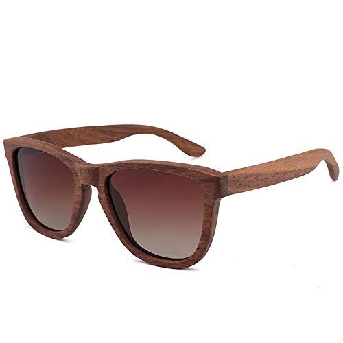 Bradoner Gafas De Sol De Bambú En Gris Marron Retro De Tendencia for Hombre Gafas De Madera Polarizadas De Nogal Negro for Mujer (Color : Brown)