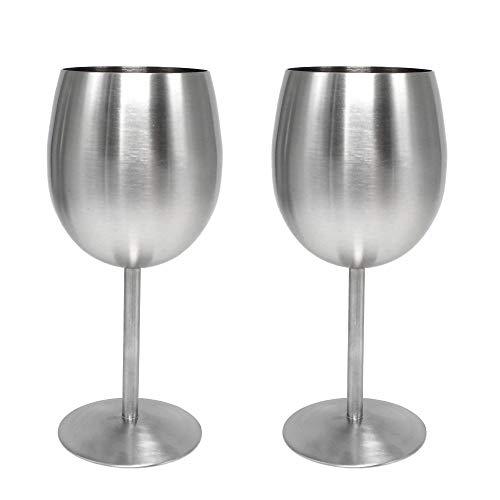 Bumpy Road 2 Pezzi 350 ml Bicchieri da Vino in Metallo Opaco Charms Bicchiere da Vino Champagne Whisky Bere Calice Bar Bicchieri da Vino in Acciaio Inossidabile 18/8