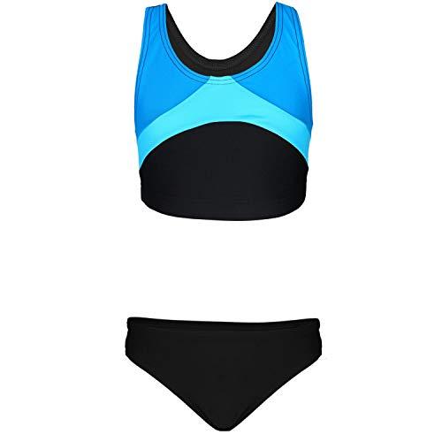Aquarti Mädchen Sport Bikini Racerback Bustier & Bikinislip, Farbe: Schwarz/Türkis/Himmelblau, Größe: 134