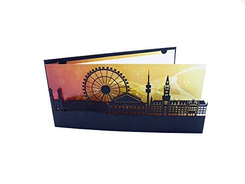 MÜNCHEN SkylineCard - als Weihnachtskarte - Neujahrskarte - Geschäftskarte - Glückwunschkarte - Geburtstagskarte - Münchenkarte (1)