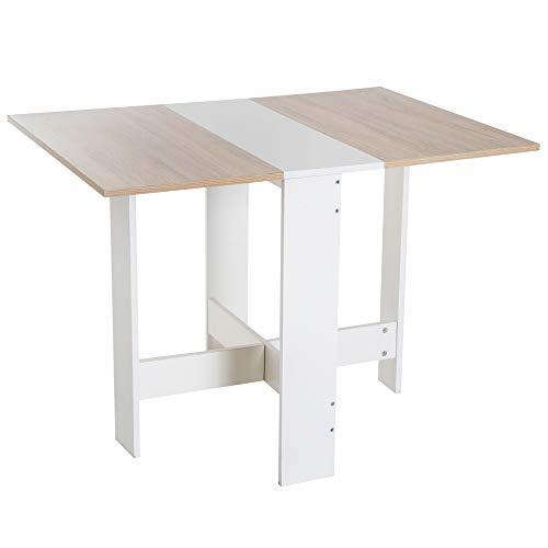 homcom Tavolo da Pranzo Design Moderno Pieghevole Legno 103×76×73.5cm Rovere Bianco
