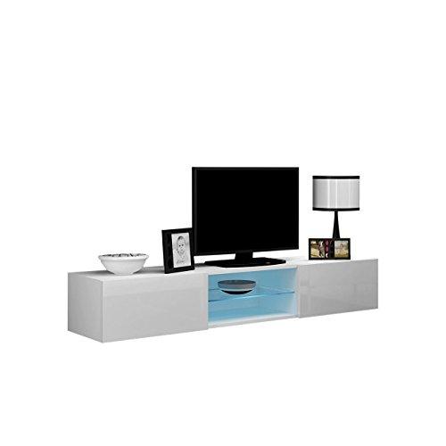 Mirjan24 TV Lowboard Vigo Glas 180 cm, TV Schrank mit Gehärtes Glasboden, Fernsehschrank, Hängeschrank mit Grifflose Öffnen (Weiß/Weiß Hochglanz, mit weißer LED Beleuchtung)