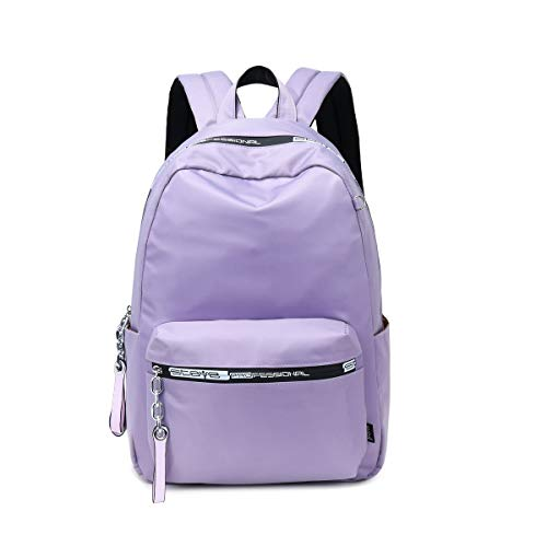 Acmebon Girl College Backpack Classic Solid Color Backpack Simple Casual Bag Purple