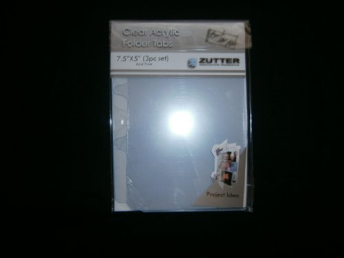 Bind It All - Zutter - Clear Acrylic Folder Tabs - 3 Pieces - 7.5x5