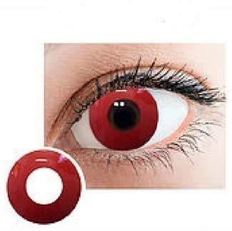 Farbige Kontaktlinsen Tageszeit Queen, s Fun&Look Karneval, Halloween, Silvester, Cosplay extravagante Designs zum Maskieren Ihrer Augen Solid Red