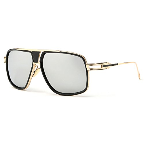 kimorn Sonnenbrille für Herren Retro Goggle Metallrahmen Classic Eyewear AE0336 (Gold&Silber, 62)