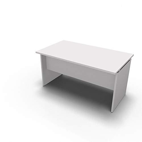 One Living Scrivania da Ufficio Panel Desk Tavolo Porta PC 140 x 80 x 73 CM (L x P x H) Bianco