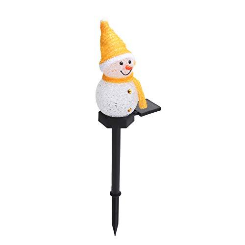 Lámpara LED del muñeco de nieve, control de luz decorativo de la luz del camino de la historieta solar de la Navidad del césped del jardín del paisaje(amarillo)