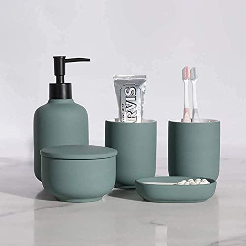 shandianniao Baño Accesorios Establecer Sets de Conjuntos 5pcs, cerámica ajustes Lujo dispensador jabón Cepillo Dientes Copa Plato (Color : Green)