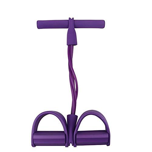 HGWZLQ 4 Tubo Fuerte Resistencia De La Aptitud Bandas De Látex Pedal del Pie Ejercitador Tire Cuerdas De Yoga Deportes Pilates Fitness Equipo De Adelgazamiento Gym (Color : Purple)
