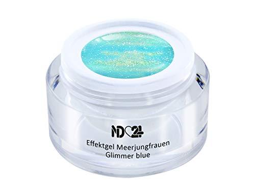 5ml - UV LED Effekt-Gel MEERJUNGFRAUEN GLIMMER blue - BLAU - Effekt Gel Naildesign FarbgGel NagelGel für Nageldesign Modellage - Nail Art Gel - Studio Qualität - MADE IN GERMANY