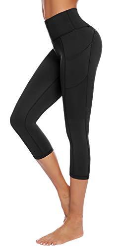 AUU High Waist Yoga Pants, Pocket Yoga Pants Tummy Control Workout Running Athleta 4 Way Stretch Yoga Leggings Black L