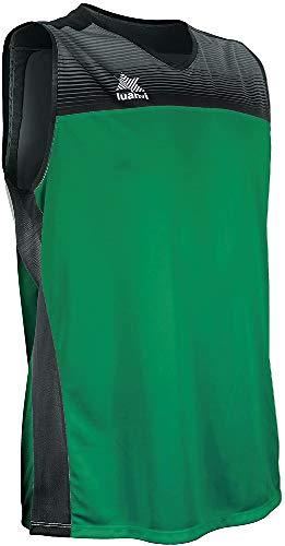 Luanvi Portland Camiseta Especializada de Baloncesto, Unisex Adulto, Verde/Negro, XL