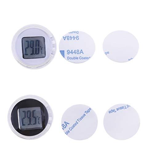 Almencla 2 x Motorrad Thermometer, Digital Wasserdicht Stick On Temperaturmesser Meter LCD Digital Uhr Nur Unterstützung Celsius (Schwarz + Weiß)