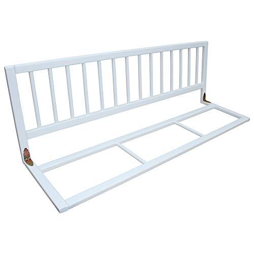 Bettschutzgitter Bettgitter Schutzgitter für Kinderbett 120x40 cm massiv weiss