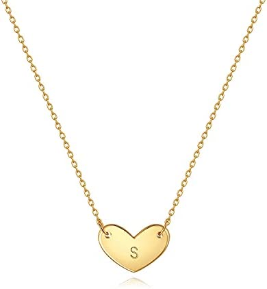 MDMOST Women Gold Initial Necklace Choker Heart Pendant 18K Gold Filled Dainty Chain Simple Handmade Personalized Jewelry Birthday Gift Engraved Letter A-Z
