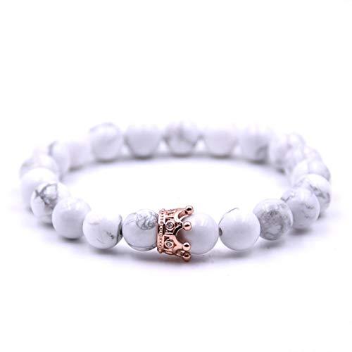 Deniseonuk Mode Paar Vulkanstein Armband, Exquisite Einstellbare Marmor Peeling Perlen Crown Armreifen Für Frauen Männer Schmuck