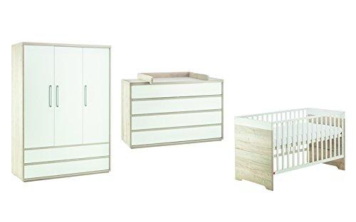 Schardt 11 962 28 00 Chambre Mick avec un lit combiné, commode et armoire 3 portes Blanc