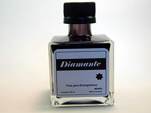 Tinta Negra para Pluma Estilográfica y Plumillas - Tintero de Cristal Tamaño grande 100ml de tinta - DIAMANTE (NEGRO)
