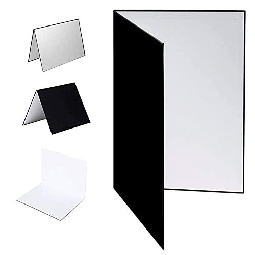 Selens 3 en 1 Reflector de Luz Fotografía 29.7X42cm Plegable Cartón Grueso Iluminación para Comida Naturaleza Muerta Producto Estudio Fotográfico Fotos Negro/Plateado/Blanco