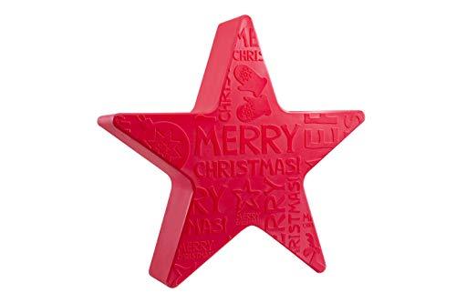 8 seasons design | Beleuchtete Weihnachtsdekoration Stern Shining Star 'Merry Christmas' (E27, Ø 60 cm, IP44, für innen & außen) rot