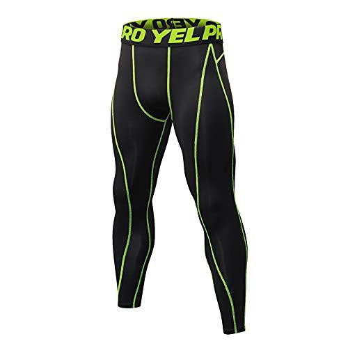 Yihaojia Men's Running Tights Active Workout Sports Leggings Cycling Yoga Baselayer Compression Pants Green