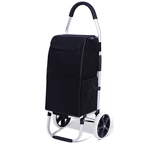 Oureong-Home Shopping Cart Comfort Shopping Trolley Bag Folding Shopping Cart Best Bag with Rolling Swivel Wheels Utility Grocery Cart with Waterproof Canvas Bag for Easy Storage Shopping Cart