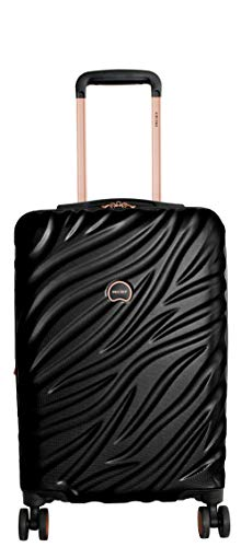 Delsey Alexis Lightweight Luggage Set 3 Pieces, Double Wheel Hardshell Suitcases, Expandable Spinner Suitcase with TSA Lock and Carry On (Black/Rose Gold, Carry-on)