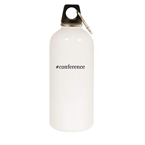 #conference - 20oz Hashtag Stainless Steel White Water Bottle with Carabiner, White