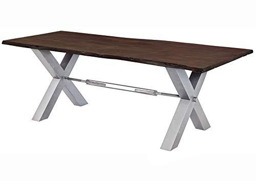 MASSIVMOEBEL24.DE Table à Manger 220x100cm - Bois Massif d'acacia laqué (Brun/Gris) - Iron Label #107
