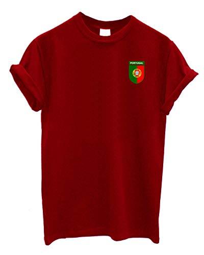 PAPER PLANE LONDON Camiseta de Cuello Redondo con Escudo del Equipo de Portugal para fútbol, Rugby, Cricket, portugués